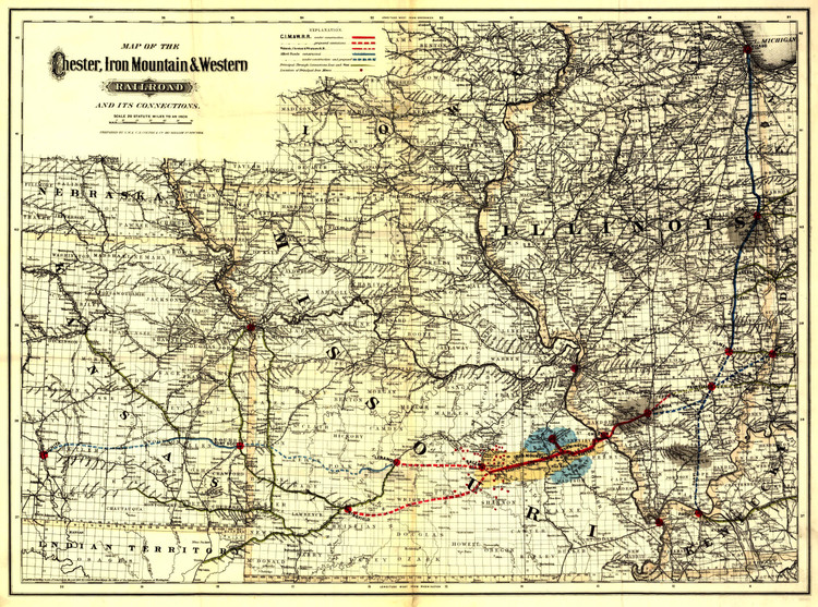 Historic Railroad Map of the Midwest - 1881 Chester, Iron Mountain & Western Railroad