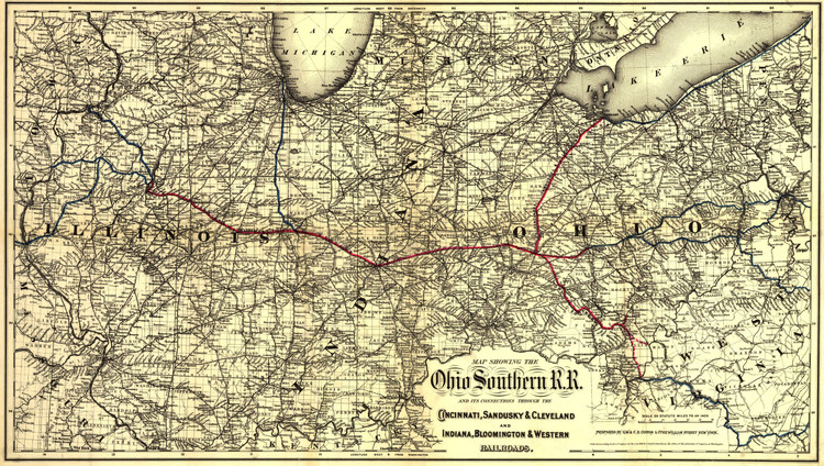 Historic Railroad Map of the Midwest - 1881 - Ohio Southern Railroad