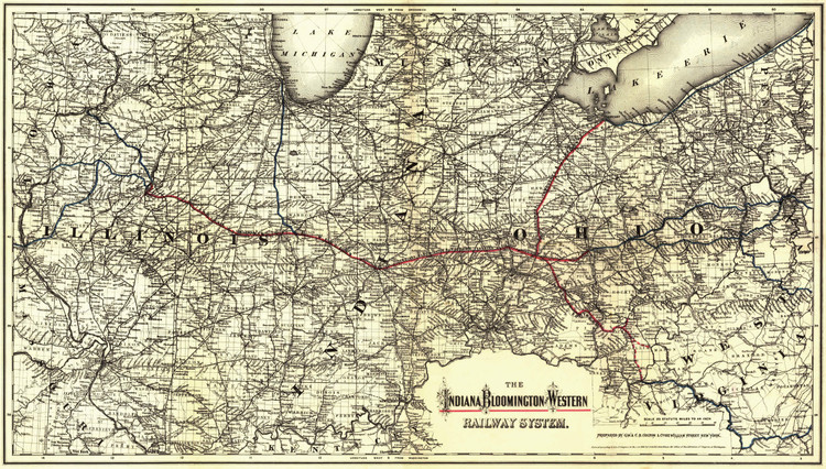 Historic Railroad Map of the Midwest - 1881 - Indiana, Bloomington and Western Railway System