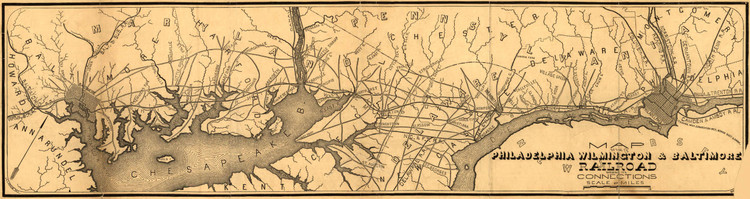 Historic Railroad Map of the Northeastern US - 1850