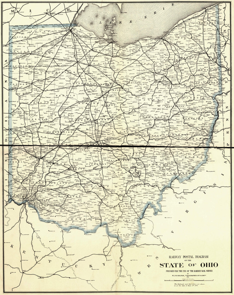 Historic Railroad Map of Ohio - 1882 - Railway Mail Service