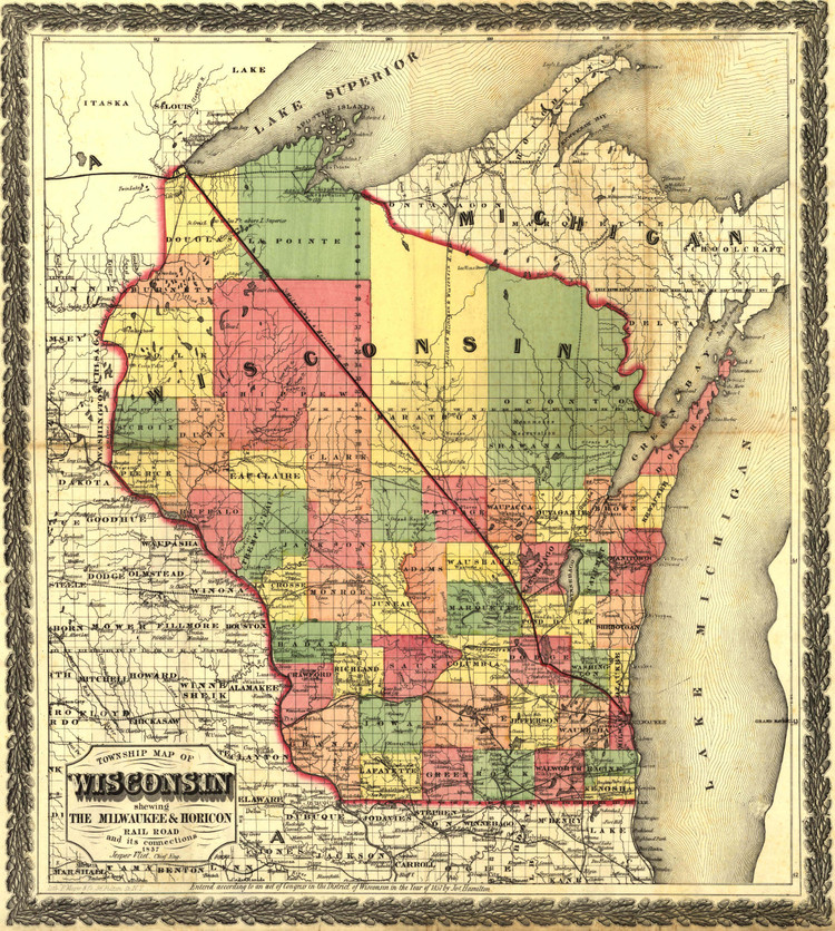 Historic Railroad Map of Wisconsin - 1857 - Milwaukee and Horicon Railroad