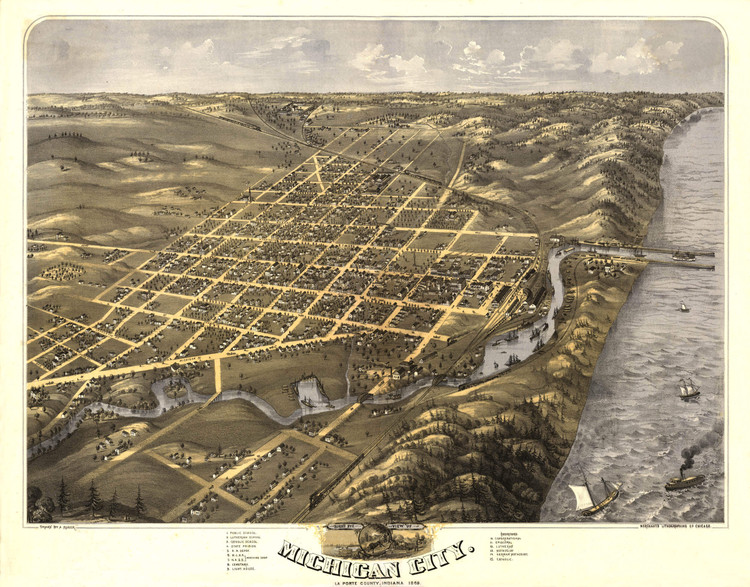 Historic Map - Michigan City, IN - 1869 - A. Ruger