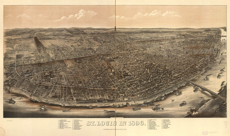 Historic Map - St. Louis, MO - 1896 - Chas. Juehne