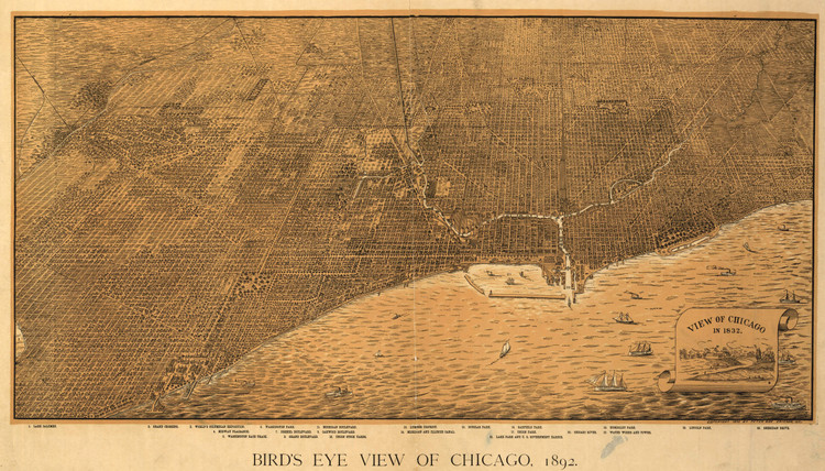 Historic Map - Chicago, IL - 1892 - Peter Roy.