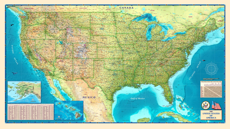 United States Physical Wall Map from Compart Maps