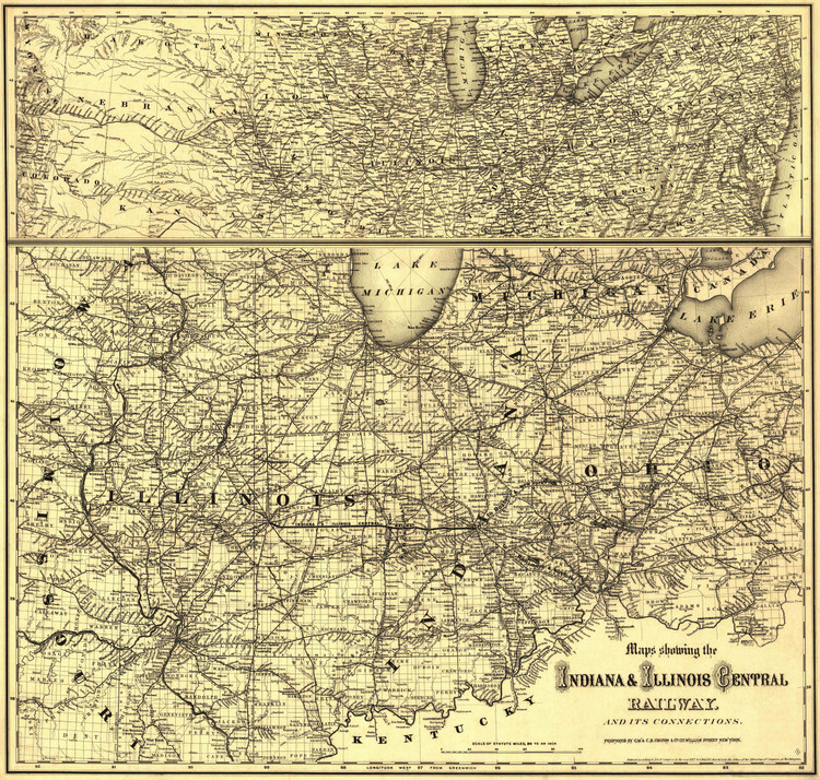 Historic Railroad Map of the Midwest - 1872 - G.W. & C.B. Colton & Co.
