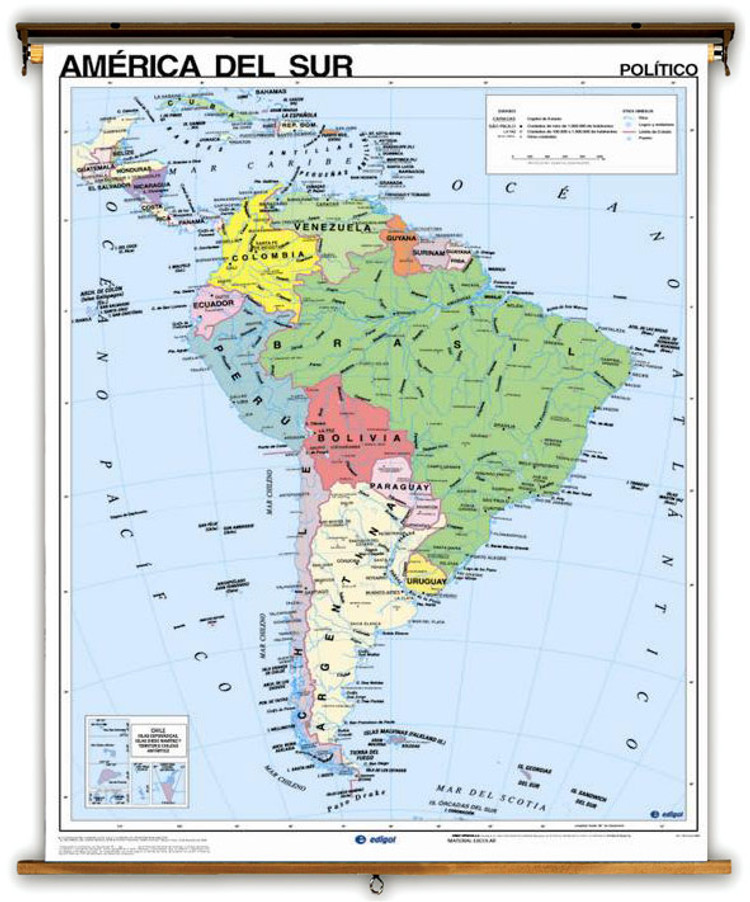 Spanish Language Physical/Political Map of South America