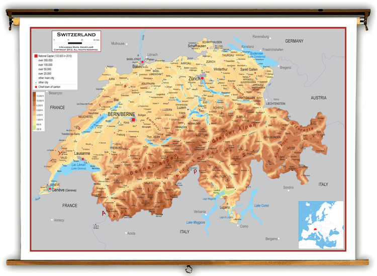 Switzerland Physical Educational Map from Academia Maps