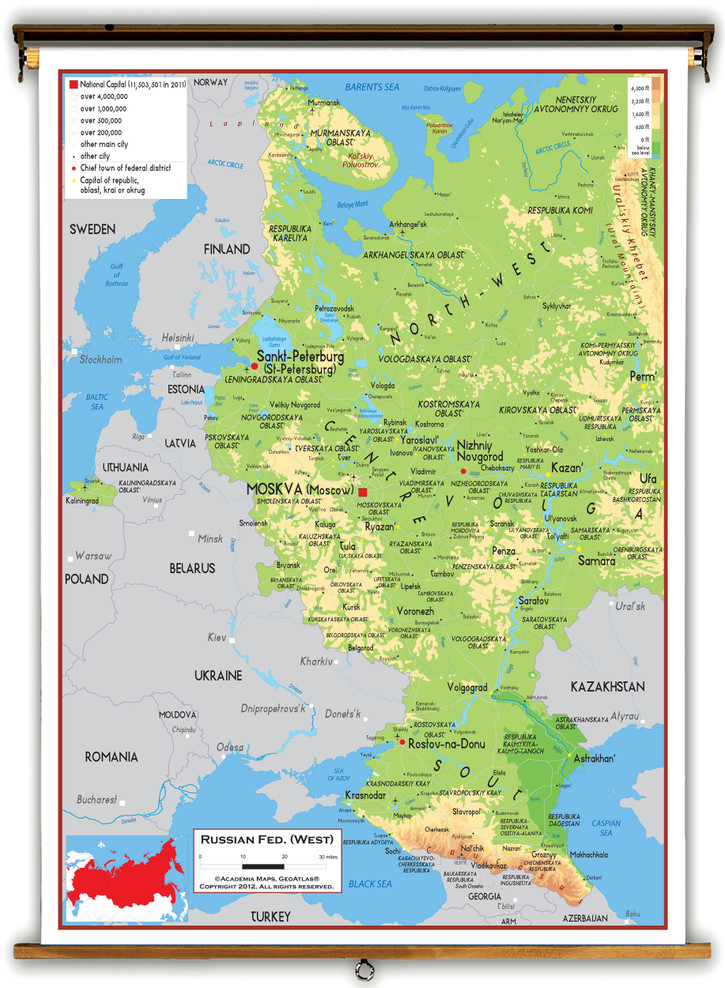 Russia (Western) Physical Educational Map from Academia Maps