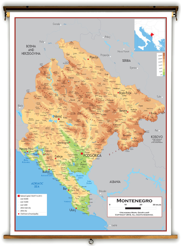 Montenegro Physical Educational Map from Academia Maps