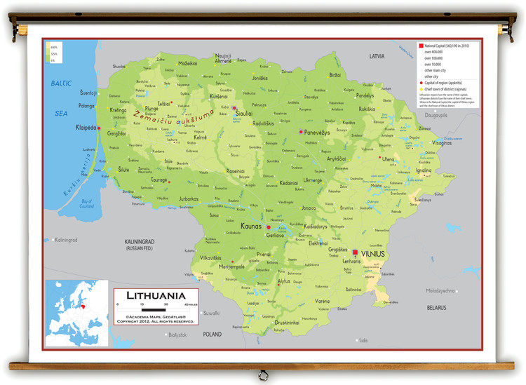 Lithuania Physical Educational Map from Academia Maps