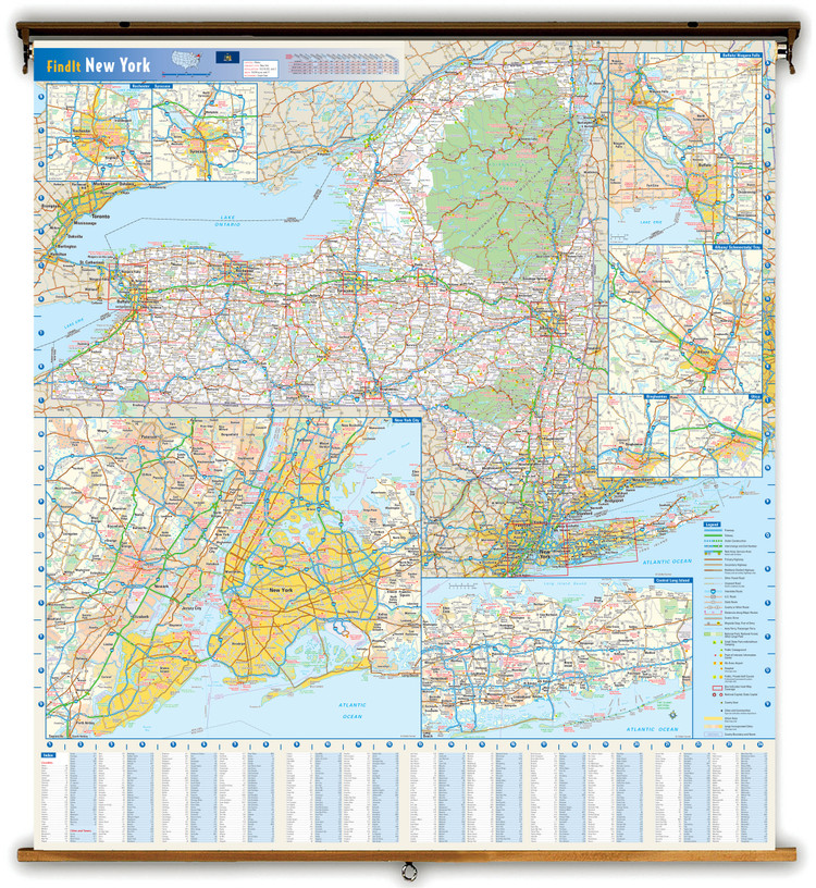 New York State Reference Spring Roller Map