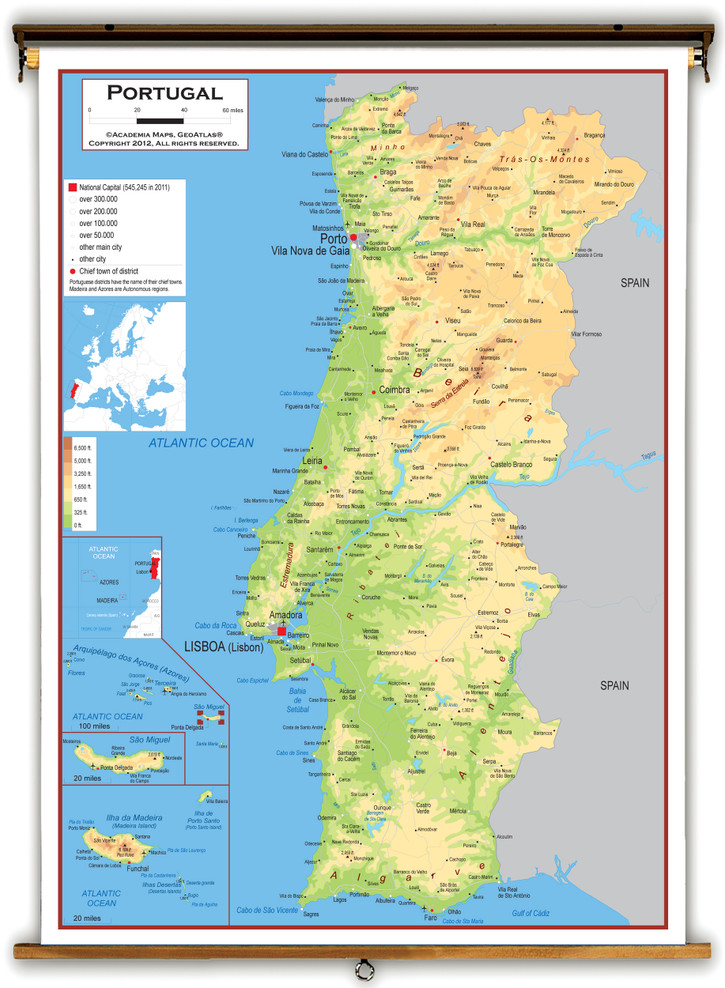 Portugal Physical Educational Map from Academia Maps