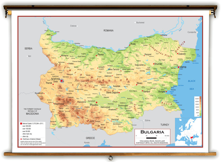 Bulgaria Physical Educational Map from Academia Maps