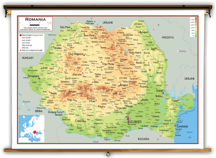 Romania Physical Educational Map from Academia Maps