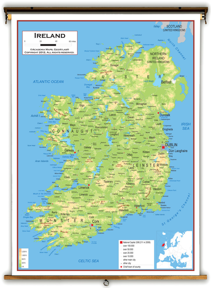 Ireland Physical Educational Map from Academia Maps