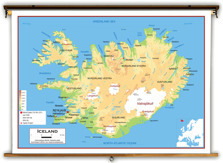 Iceland Physical Educational Map from Academia Maps