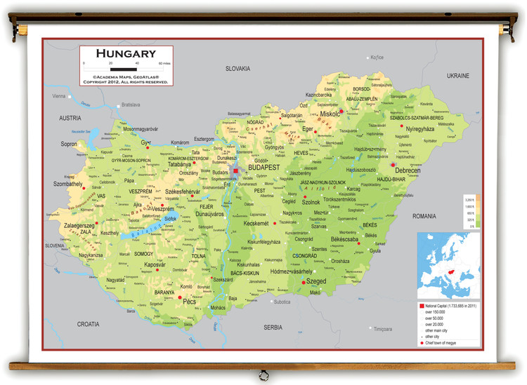 Hungary Physical Educational Map from Academia Maps