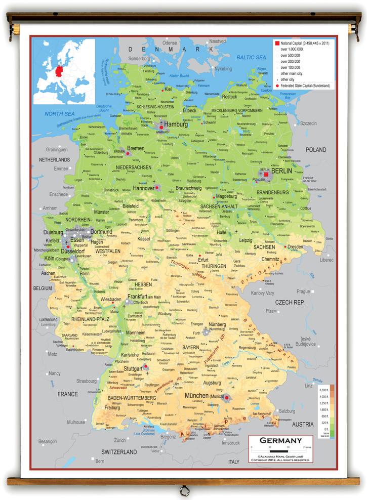 Germany Physical Educational Map from Academia Maps