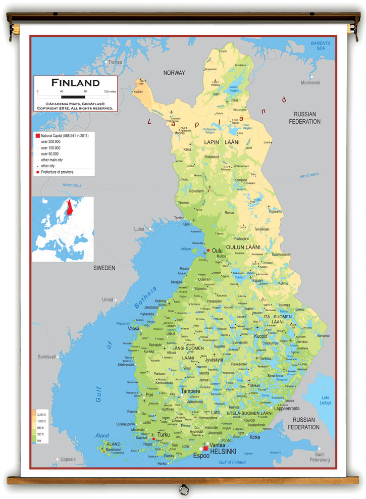 Finland Physical Educational Map from Academia Maps