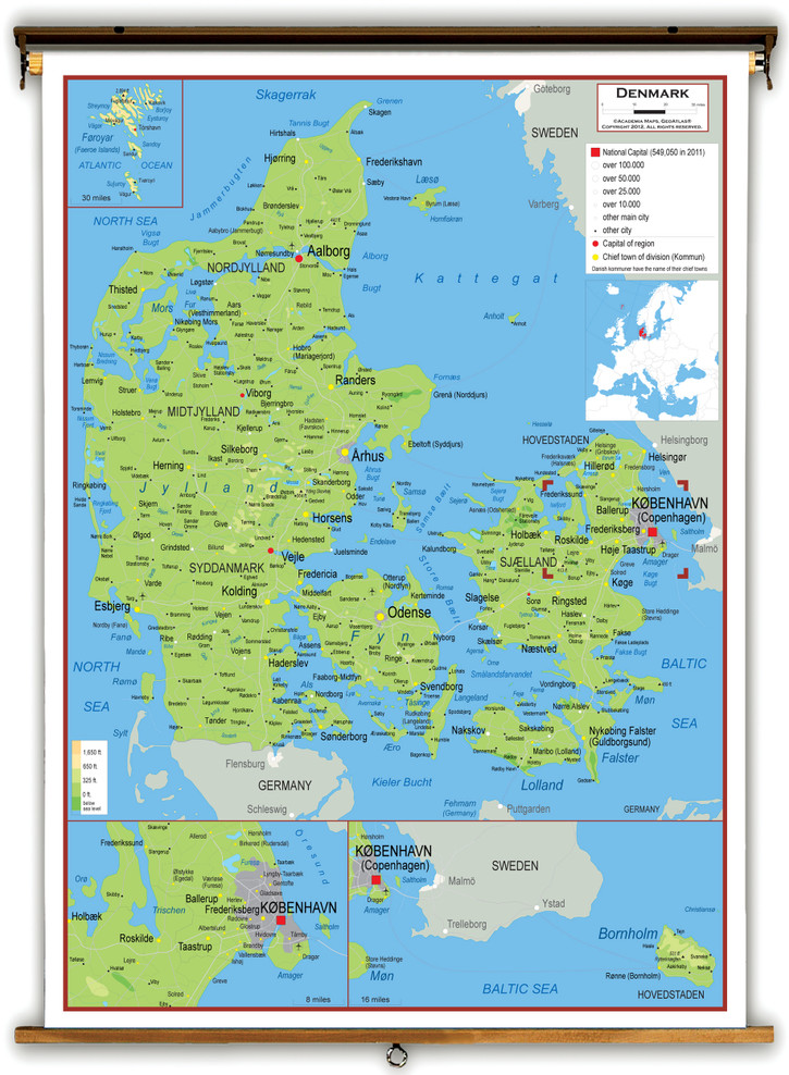 Denmark Physical Educational Map from Academia Maps
