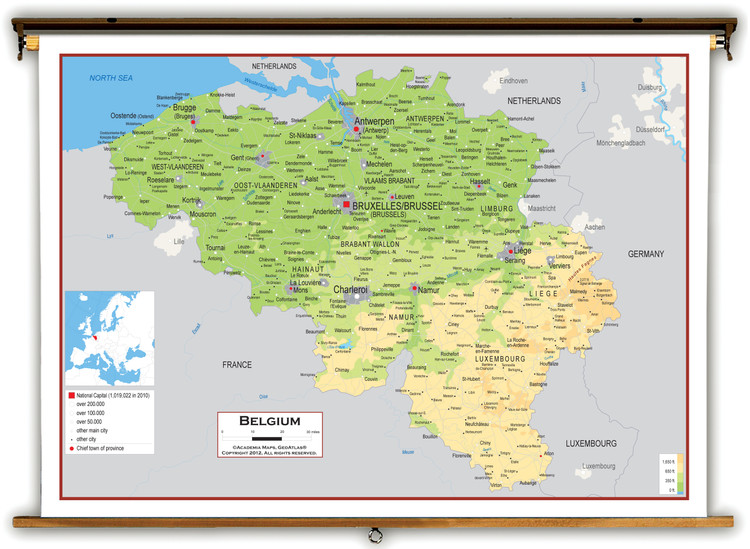 Belgium Physical Educational Map from Academia Maps