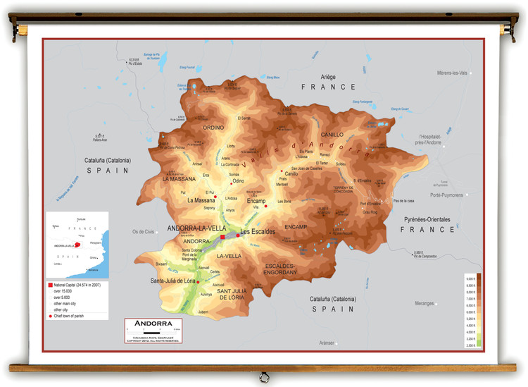 Andorra Physical Educational Map from Academia Maps