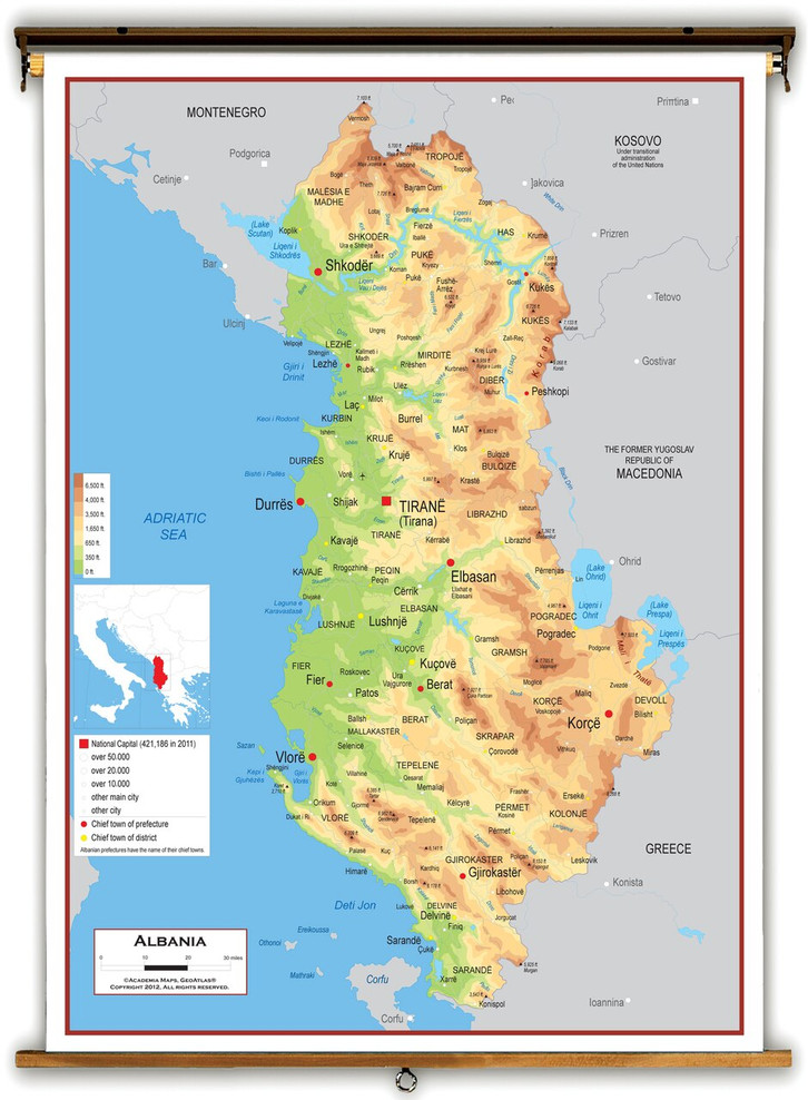Albania Physical Educational Map from Academia Maps