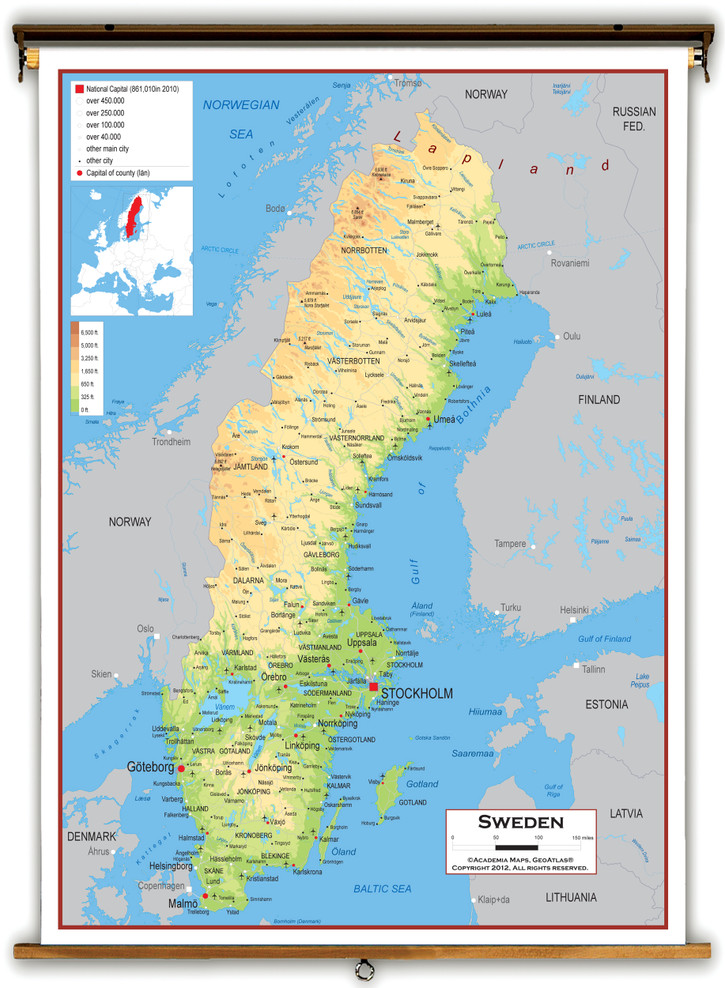 Sweden Physical Educational Map from Academia Maps
