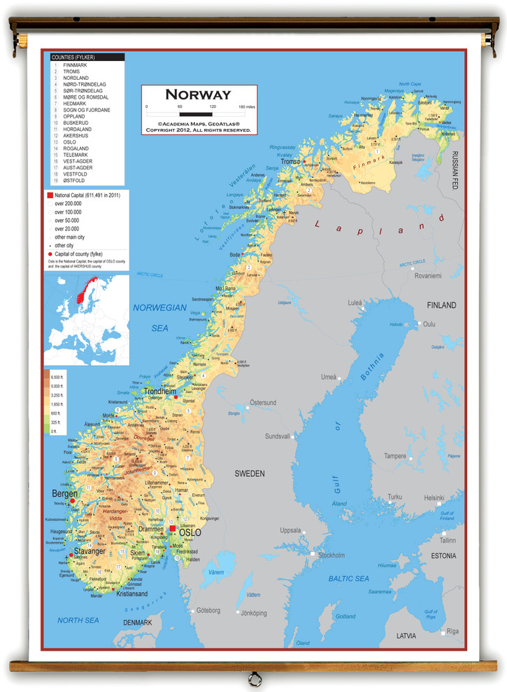 Norway Physical Educational Map from Academia Maps