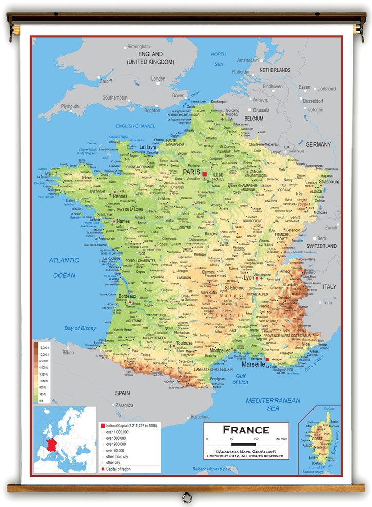 France Physical Educational Map from Academia Maps