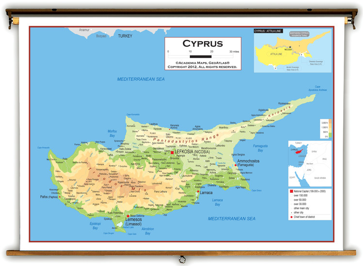 Cyprus Physical Educational Map from Academia Maps