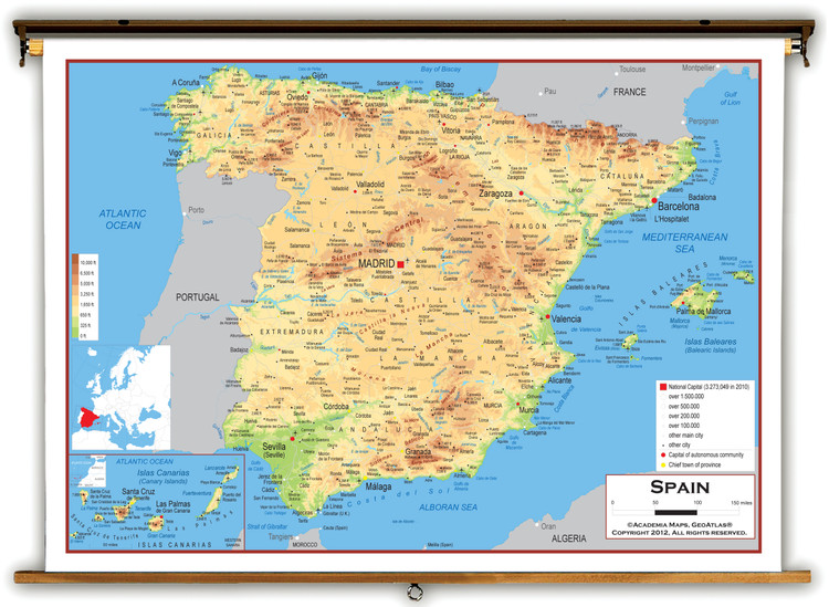 Spain Physical Educational Map from Academia Maps