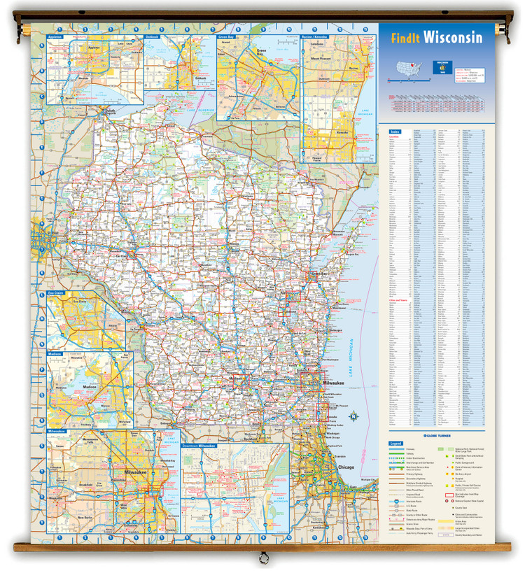 Wisconsin Reference Spring Roller Map