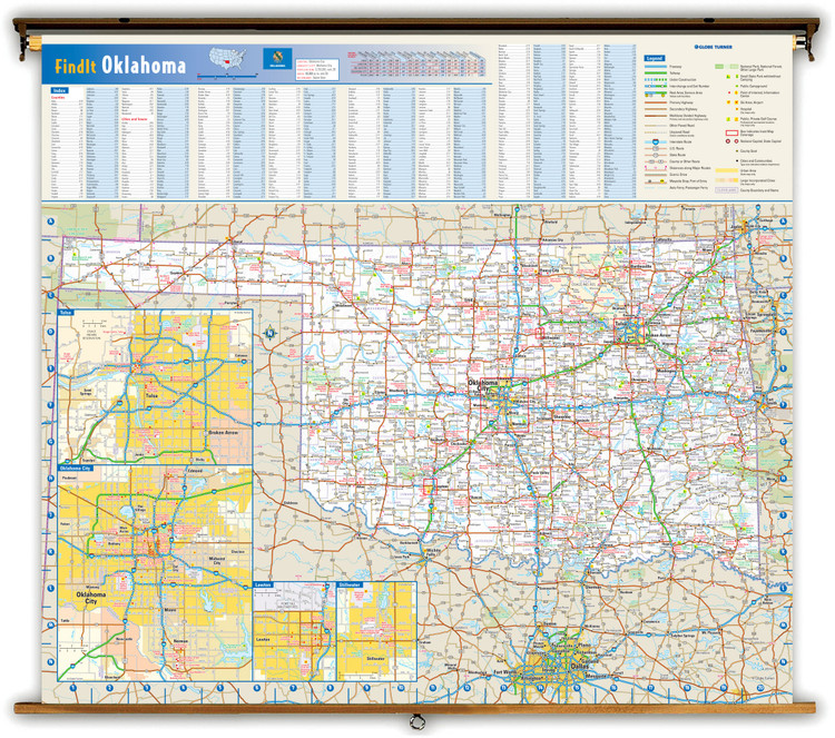 Oklahoma Reference Spring Roller Map