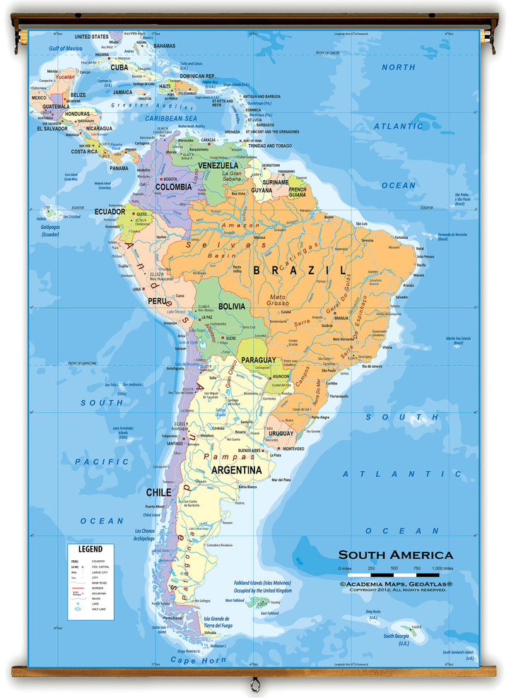 South America Political Classroom Wall Map from Academia Maps