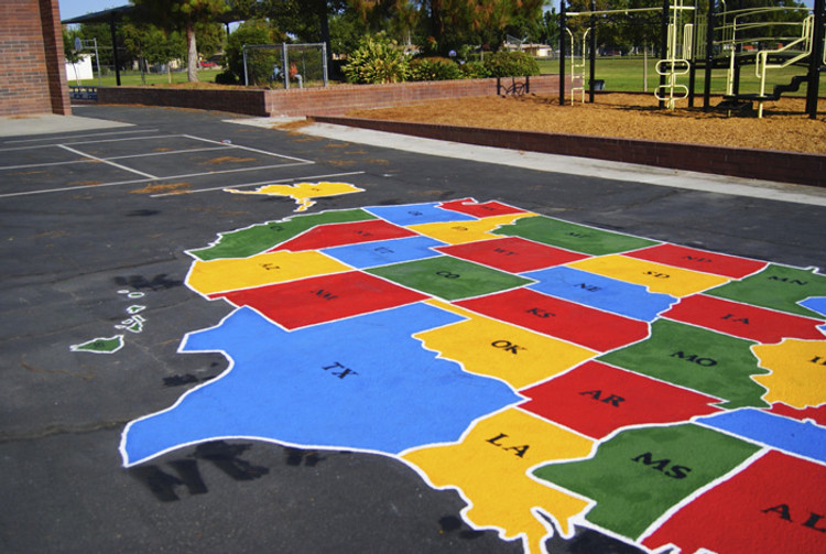 USA playground map stencil