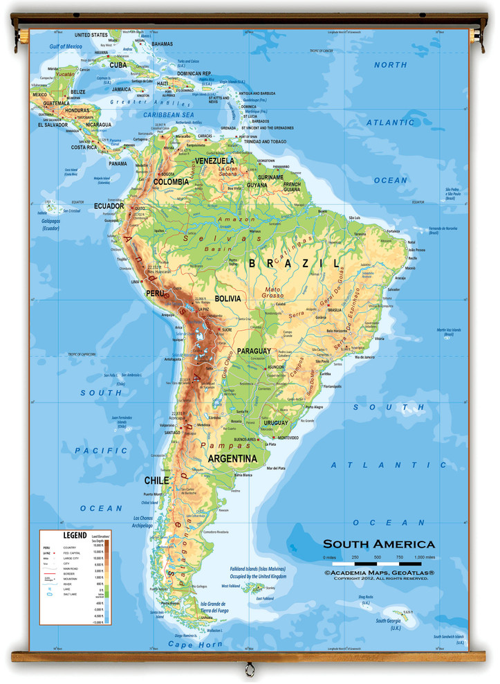 South America Physical Classroom Wall Map from Academia Maps