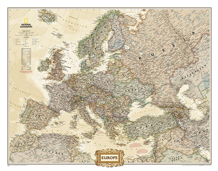 National Geographic Europe Wall Map Mural