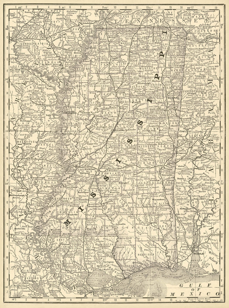 Historical Railroad Map of Mississippi - 1878