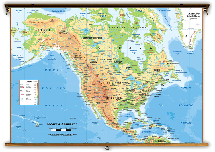 North America Physical Classroom Wall Map from Academia Maps