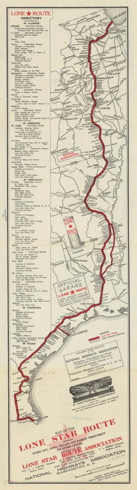 Historical Map of Texas - Lone Star Route - 1911