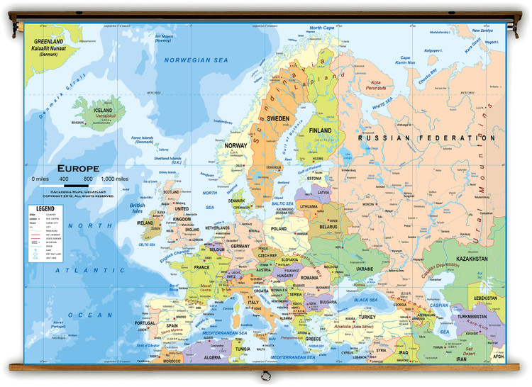 Europe Political Educational Wall Map from Academia Maps