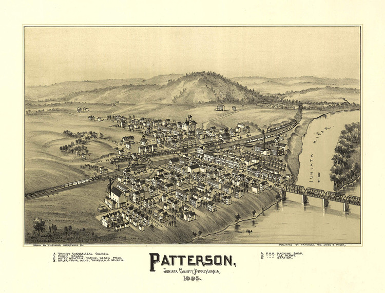 Historic Map - Mifflin (formerly Patterson), PA - 1895