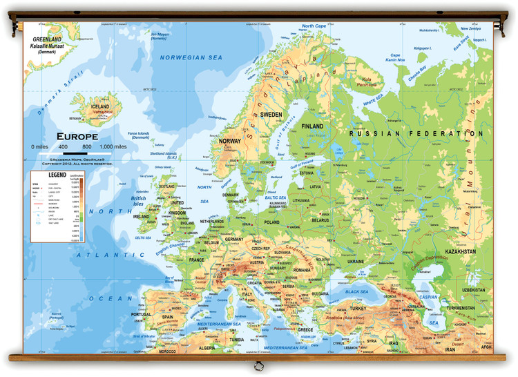 Europe Physical Classroom Wall Map from Academia Maps