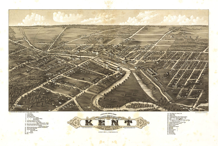 Historic Map - Kent, OH - 1882