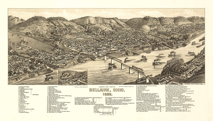 Historic Map - Bellaire, OH - 1882