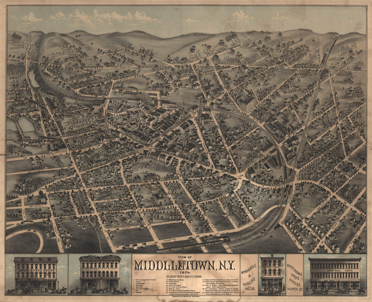 Historic Map - Middletown, NY - 1874