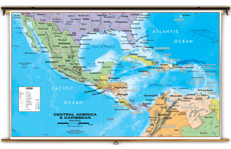 Central America & Caribbean Political Classroom Map from Academia